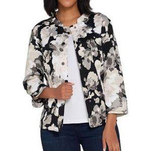 Isaac Mizrahi Watercolor Floral Print Knit Jacket